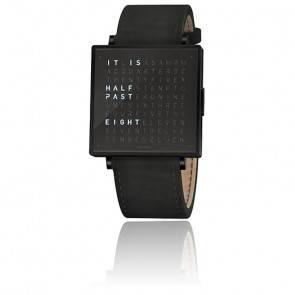 Qlocktwo W39 Black Steel Leather Suede Black
