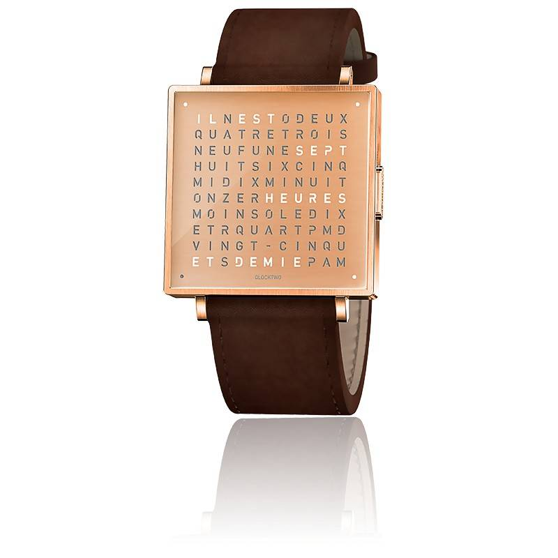 Qlocktwo W39 Copper Leather Vintage Brown