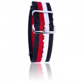 Bracelet Nato  Noir/rouge/blanc