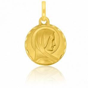 Médaille Facettée Petite Vierge Auréolée Profil Or Jaune 18K