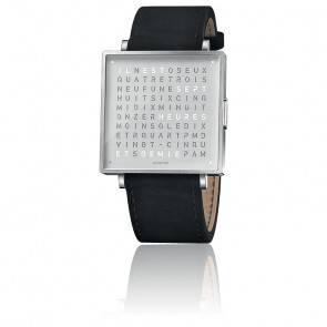 Montre Qlocktwo W35 Fine Steel Leather Suede Black