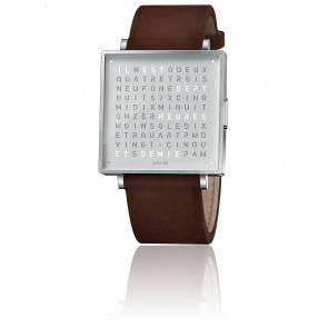Montre Qlocktwo W35 Fine Steel Leather Vintage Brown