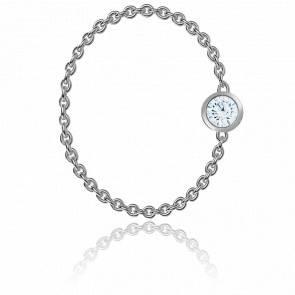 Bague Diamant Enchainé 0,05ct & Or Blanc 18K