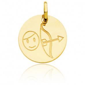 Médaille Zodiaque Petit Sagittaire Or Jaune 18K