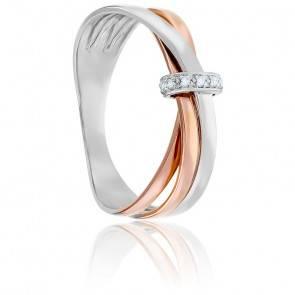 Bague Triple Anneaux & Noeud Diamanté 2 Ors 18K