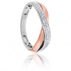 Bague Double Anneaux Diamants 2 Ors 18K