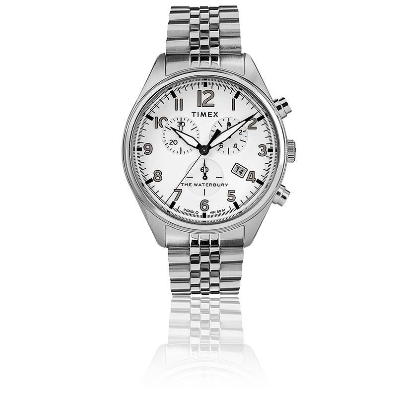 Montre Waterbury Traditional Chrono SST White Dial Bracelet TW2R88500 - Timex