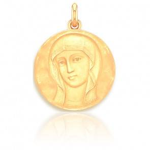Médaille Vierge Byzantine Martelée Or Jaune 18K