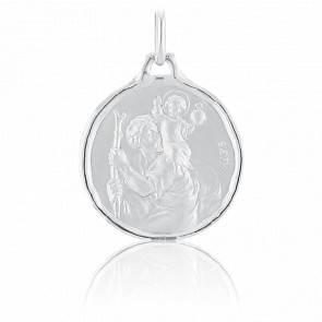 Médaille Saint Christophe Ronde Or Blanc 18K