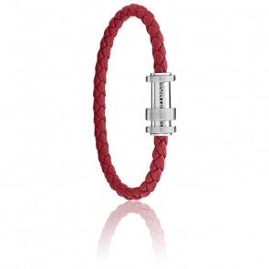 Bracelet Tressé RED, Cuir & Acier