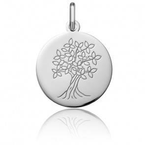 Médaille Arbre de Vie Printemps Fleuri Or Blanc 18K