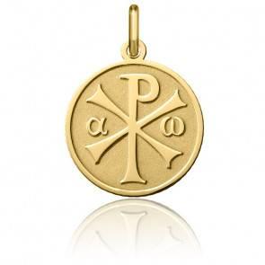 Médaille Chrisme Sablée Or Jaune 18K