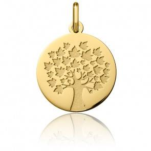 Médaille Arbre de Vie Feuilles d'Erable Or Jaune 18K