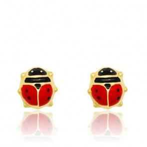 Boucles d'oreilles coccinelles email & or jaune