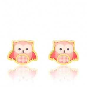 Boucles d'oreilles hibou rose & or jaune