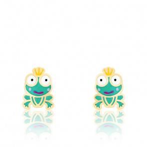 Boucles d'oreilles grenouille email & or jaune
