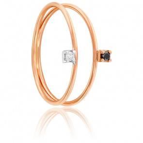 Bague diamants & or rose 18K deux anneaux