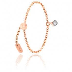 Bague chaîne diamant & or rose 18K