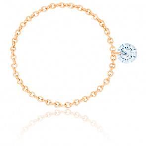 Bague diamant percé brillant F/VS2 Chain & or rose 18K