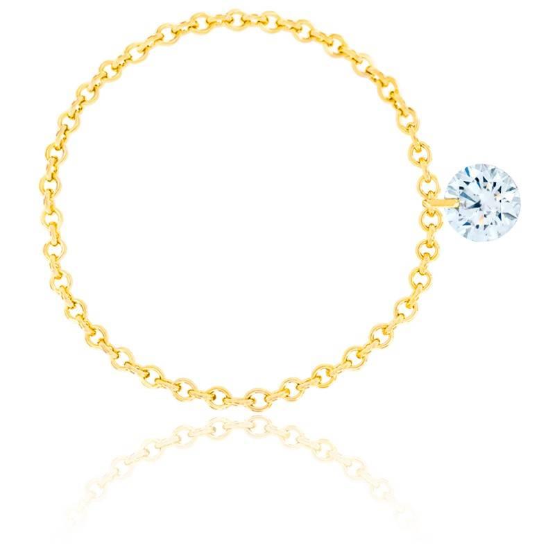 Bague diamant percé brillant F/VS2 Chain & or jaune 18K
