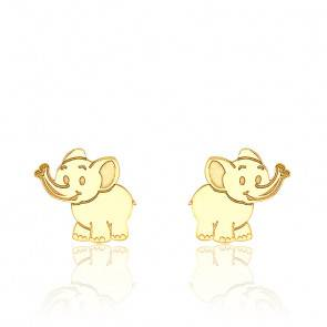 Boucles d'Oreilles éléphant or jaune 9K