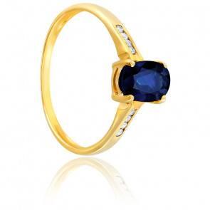Bague, Or jaune 18K, Saphir noir & Diamants