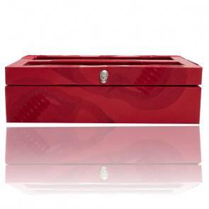 Boîte à Montres Memento Mori Cuir Rouge 10 pièces 493572
