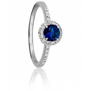 Bague Saphir Pavé de Diamants Or Blanc 18K