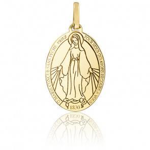 Médaille Vierge Miraculeuse gravée, or jaune 9K ou 18K