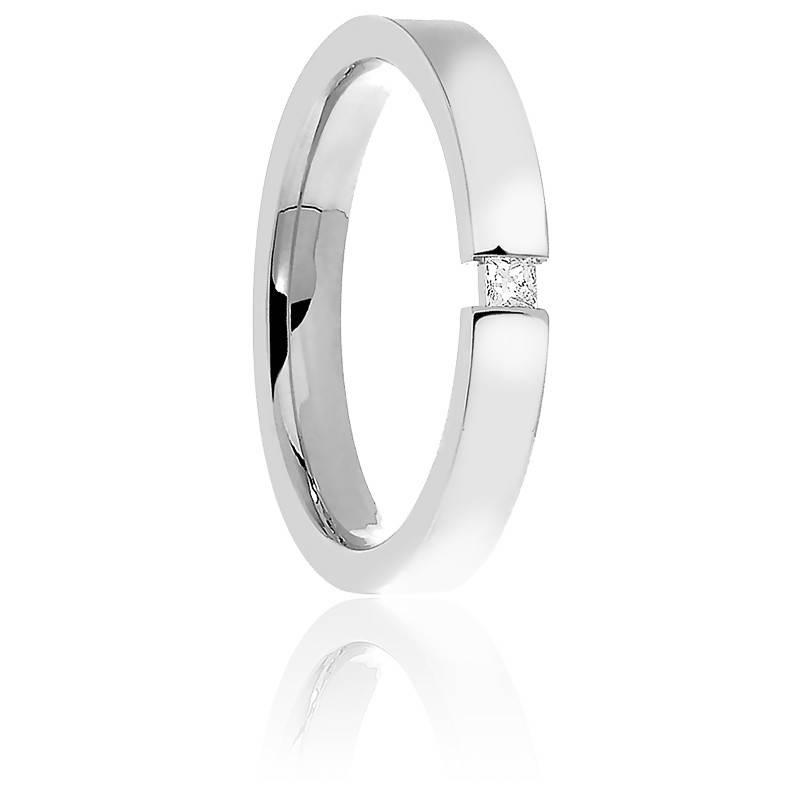 Alliance Diamant Princesse & Or Blanc 18K