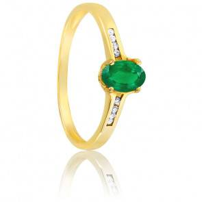 Bague, Or jaune 18K, Emeraude & Diamants