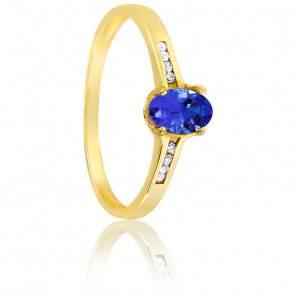 Bague, Or jaune 18K, Saphir & Diamants