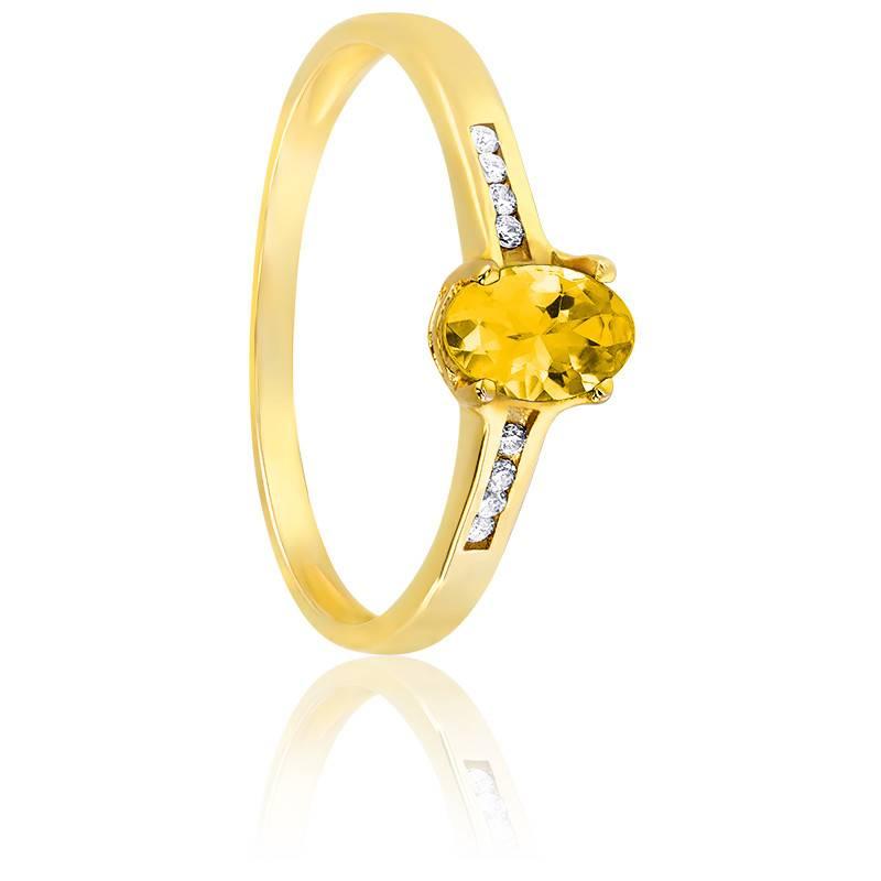 Bague, Or jaune 18K, Citrine & Diamants