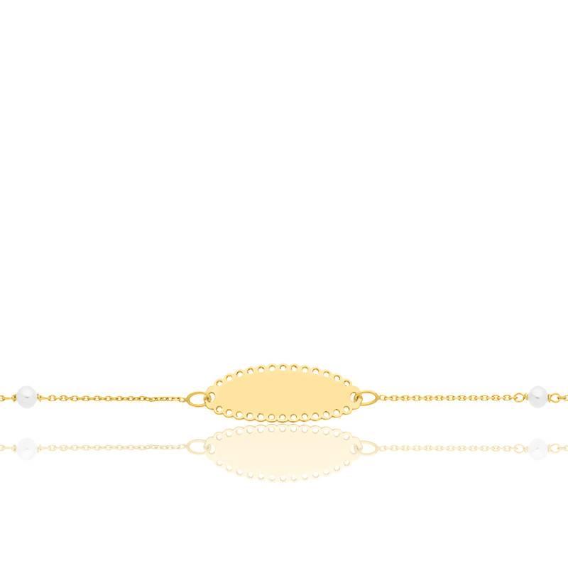 Gourmette bébé dentelle et perles or jaune 9K