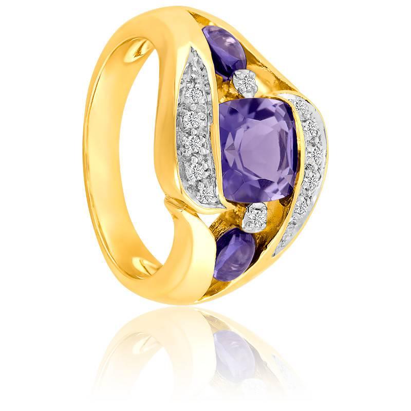 Bague Or Jaune 9K Iolite & Diamants