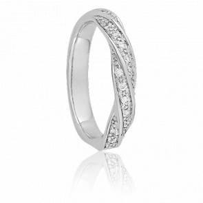 Alliance Cléopatra Or Blanc 9K et Diamants