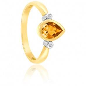 Bague Poire Or jaune 9K Citrine & Diamants