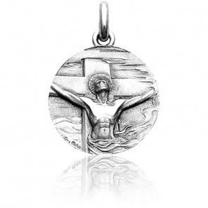 Médaille Christ Rédemption Or Blanc 18K