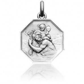Médaille Octogonale Saint Christophe Argent