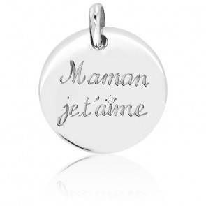 """Médaille """"Maman je t'aime"""" Argent et Diamant"""