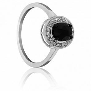 Bague diamant noir 1 ct, diamants et or blanc 18K