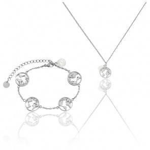 Pack Collier & Bracelet Globe Petite Silver