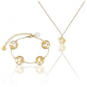 Pack Collier & Bracelet Globe Petite Gold