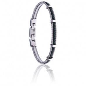 Bracelet 2 câbles acier et cuir tressé italien vert