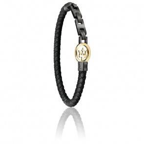 Bracelet en cuir tressé noir et doré JM320ASS04