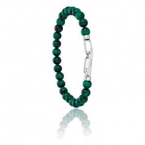 Bracelet Wrap Me Vert en Acier et Oeil-de-Tigre