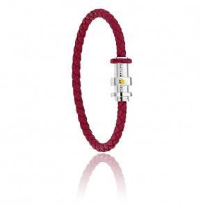 Bracelet tressé bordeaux Le Petit Prince, cuir & acier