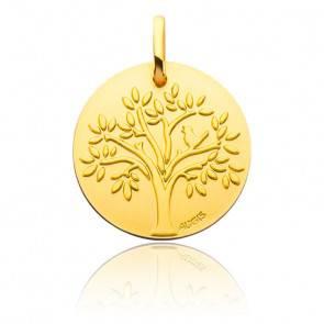 Médaille Arbre de Vie Oiseau Or Jaune 18K