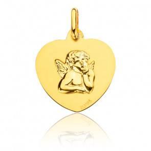 Médaille Coeur Ange Or Jaune 18K