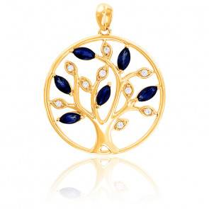 Pendentif Arbre Or jaune Diamants & Saphirs